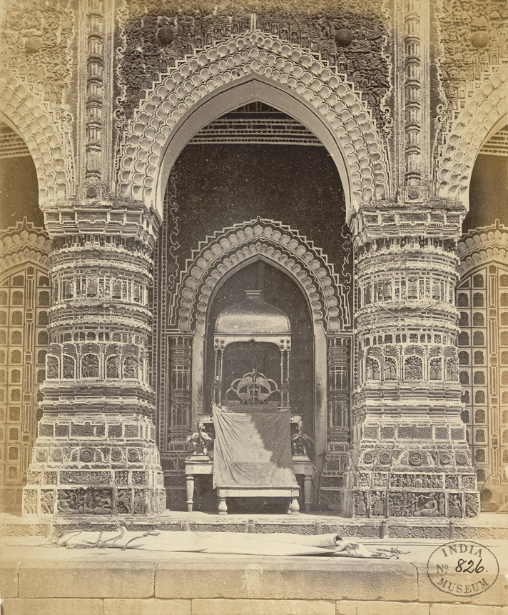 Close view of centre entrance arch on the south face of the Kantaji Temple, Kantanagar, with Thakur's chair on verandah
